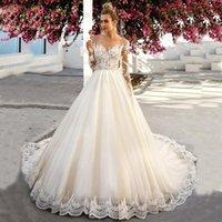 A-Line Свадебные платья 2020 Vestidos de Novia Tulle с длинным рукавом Аппликации Кружева Цвет кожи Прозрачные Свадебные платья