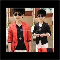 Moda Büyük Erkek Suit Ceket Kori Koreli Çocuk Yaka Çocuk Dış Giyim Bahar Sonbahar Çocuklar Düğme Parti Giysileri Siyah Kırmızı 7 adetgrup K4439 PK0NH