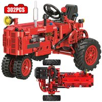 City Classic Red Old Tractor Car Technical Building Blocks DIY Walking Tractor Truck Bricks Educational Toys for Children Q0624