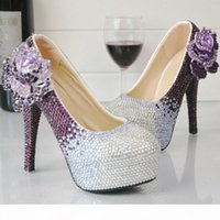 Purple and Silver Rhinestone High Heel Shoes Wedding Party Pumps Bridal Formal Dress Shoes Cinderella Prom Pumps Plus Size 45