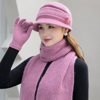 Beanie Skull Caps Women Flowers Casual Winter Hat Keep Neck Warmer Scarf Gloves Set Three Pieces For Female Add Fur Lining Knitted