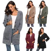 Designer Coat Womens Plush Warm Cardigan Sweater Solid Color V Neck Single Breasted Spring Autumn Fashion Famale