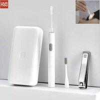 Smart Home Control HUOHOU LED المحمولة USB الأذن العناية بالأظافر كيت بيك فرشاة الشمع نظافة أداة إزالة مع ضوء ملف المقص القاطع