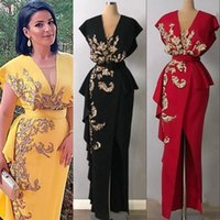 Sexy V Neck Mermaid Evening Dresses With Belt Sleeveless Gold Appliqued Lace Summer Prom Dress Pageant Gown Side Split Custom Made Robe de mariée