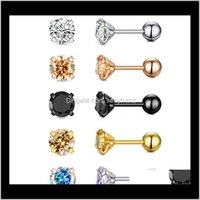 Jewelry Drop Delivery 2021 Earrings Tragus Cartilage Zircon Ear Stud Round Crystal 316L Stainless Steel Ab Nail Bone Clear Cz 4Mm Rose Gold B