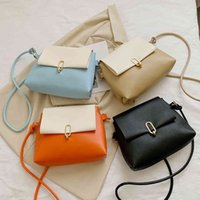 Women Contrast Colour Shoulder Crossbody Cups Pu Leather Messenger Bag Casual All-match Vintage Ladies Flap Small Wallet