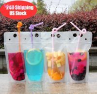 DHL UPS Fast Delivery Disposable Clear Drink Pouches Bags Plastic Drinking Bag with Straw Reclosable Heat-Proof Juice Coffee Liquid Bags MT12