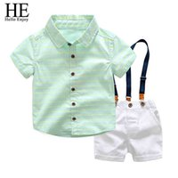 Kids Designer Boy Brands Gentleman Party Children Clothes Short Sleeves Stripe Shirts+Straps Shorts Boys Set 210508