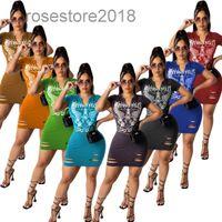 Nuevas mujeres Vestido Diseñador V Cuello Cuello Cuello Falda Mujer Moda Slim Burnt Flower Vestido Posicionamiento Impresión Nightclub Falda Summer Falda 2021