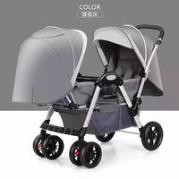 İkiz Bebek Arabası Hafif Amortisör Kolay Katlanır Dört Tekerlekli Arabası Katlanır Flatbaby Yenidoğan ÇiftBaby Taşıma