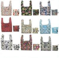 Bolsas de compras plegables de gran tamaño Nylon Home Storage Bag Reutilizable Eco-Friendly Bolsa plegable bolsa de comestibles bolsa multifunción Compras HWC7610