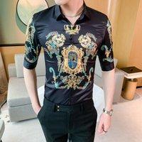 Gömlek Lüks Barok Erkekler 2021 Yaz Yarım Kollu Taç Baskı Elbise Gömlek Streetwear Sosyal Rahat Ince Camisa Masculina Erkekler