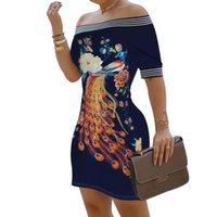 Plus Size Kleid Kleidung Sexy Frauen Kurzarm Schulterfrei Blumen Pfau Print Bodycon Minikleid