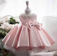 Abiti da ragazzi di fiori Abiti perla fatta a mano Collare ricamato Princess Dress per bambini BOW VITTORE Tulle Tutu Widding Abbigliamento Abiti Abiti A7095