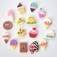 16pcs 아이스크림 쿠키 음식 부적 선물 파티 x-mas 액세서리 귀여운 PVC 배낭 구두 버클 소녀 맞는 Croc 키즈 슬리퍼
