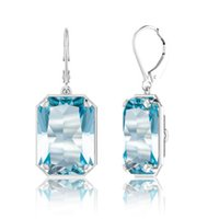 Szjinao Real Sterling 925 Earrings For Women Long Brand Jewelry Gemstone Aquamarine 925 Silver Earring Brilliant Gift