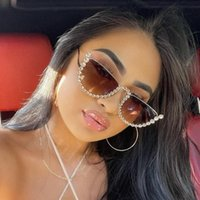 Sunglasses High Quality Rhinestone Cat Eye Women Luxury Crystal Sunnies Half Frames Sun Glasses Female Driving Zonnebril Dames
