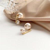 Fashion Colorful Pearl Earring Elegant Temperament Contracted Women Joker Geometric Stud Earrings Jewelry Accessories
