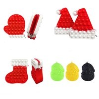 Decompression Toy Christmas Hat Socks Old Man Cartoon Purse Coin Bag Mini Key Headphone Bags