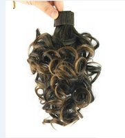 """066 Synthetic Ponytail Long Straight Hair 16"""" 22"""" Clip Ponytail Hair Extension Blonde Brown Ombre Hair Tail With Drawstring"""