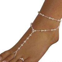 Mode Hochzeit Fußkette Schmuck Anklet Ketten Frauen Strand Nachahmung Perle Barfuß Sandalen Fuß Schmuck Kristall Sandalen KKA6154 1091 Q2