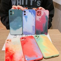 colorful Watercolor fashion Silicone glass phone Cases Camera Protect Shockproof for iPhone 12 Mini 11 Pro X XS Max XR Straight edge Cover case