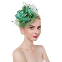 Stingy Brim Hats Women With Clip Headband Wedding Flower Hair Accessories Elegant Fascinator Hat Feathers Tea Party Mesh Cocktail Char
