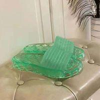 2021 Clear Jelly PVC Sandali Womens Designer di Prestigio Designer Slipper TRASPARENTE PISTA PISCINO MULS Slides Lady Gomma Slip on Sand with Box 35-45