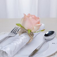 7 color Wooden Napkin buckle clasp hand woven linen rope Artificial Flower Napkin Ring Hotel table Party Favor HHB10410