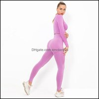 Yoga Exercise Wear Athletic Outdoor Apparel Sports & Outdoorsyoga Outfits Seamless Set Sport Women Two 2 Piece Long Sleeve Crop Top Beggings