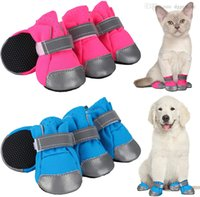 Dog Apparel Dogs Shoes for Pavement Boots Dogg Summer Booties Heat Protection Mesh Breathable Nonslip with Reflective and Adjustable Straps 4PCS Set 7 Color Blue A12