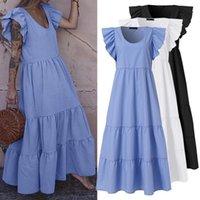 Stylish Solid Ruffle Dress Women's Summer Sundress 2021 ZANZEA Casual Butterfly Sleeve Maxi Vestido Female O Neck Robe Oversize Dresses