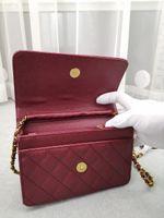 2021 Mode Frauen Umhängetasche Luxus Qualität Leder Damen Kette Messenger Crossbody Mädchen Diamant Gitter Mini Handtasche Gold und Silberketten