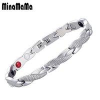 Collegamento, catena argento nero colore in acciaio inox Germanio magnetico braccialetti di terapia magnetica per le donne uomini energia sanitaria gioielli