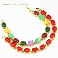 Pulsera de las mujeres Piedra natural Multicolor Oval Jades Chalcedony 6x8mm Color Color-Color Brazalete Brazaletes Joyería 7.5 pulgadas B3397 Beaded, Strand