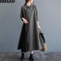 Casual Dresses Dimanaf Plus Größe Frauen Kleid Vintage Elegante Dame Vestidos Langarm Baumwolle Lose Schwarz Plaid Print Herbst Winter M-2XL