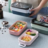 Dinnerware Sets Lunch Box Bento For Student Office Worker Double-layer Microwave Heating Container Storage Tools