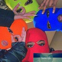 Black cycling winter hats unisex funny mask hat handmade wool knit bonnet halloween party ski beanie caps czapka zimowa touca Factory price expert design Quality