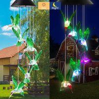 LED Vento Chime Solar Butterfly Butterfly luci Change Modifica del colore Led impermeabile natale giardino esterno giardino decorazione luci