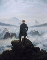 Wanderer über dem Meer von Nebelölgemälde auf Leinwand Home Decor Handkräfte / HD Print Wall Art Picture Anpassung ist akzeptabel 21051209