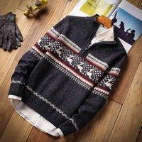 Herbst Neue Casual Jacquard Warm Hälfte Reißverschluss Weihnachten Strickjacke Jacke Winter Vintage Mock Neck Pullover Pullover Männer