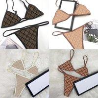 Maillots de bain Jacquard Letter Femme Baignoire Suit Bikinis Ensembles Sexy Backless Womenwear Sawwear Respirant Trois Point Dames Wear