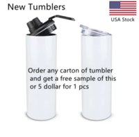 USA Stock New White 20 ounce stainless steel double wall coffee mug tumbler straight sublimation blanks