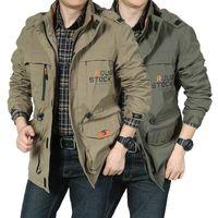 Men's Jackets KALENMOS Men Casual Cargo Hooded Military Jacket Autumn Windbreaker Pilot Coat Fashion Windproof Bomber Mens