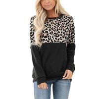 Женская футболка ежедневные женские футболки повседневные знакомства Путешествия вечеринка осень зима покупок с длинным рукавом леопардовый принт экипаж шеи пуловерные вершины