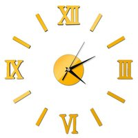 Wall Clocks Large DIY Clock Acrylic Mirror Stickers Roman Number For Living Room Home Office Decor Sale