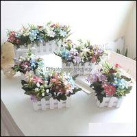 Decorative Flowers Wreaths Festive Supplies & Garden1Pc Nordic Style Artificial Flower Plant Wooden Fence For Home Garden Office Desktop Com