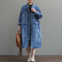 Women's Trench Coats [EWQ] 2021 Spring Autumn Pattern Lapel Long Sleeve Solid Patchwork Singel Breasted Pockets Vintage Windbreaker Women 3A