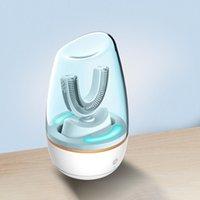 Akıllı 360 Sonic Elektronik Diş Fırçası Akıllı Otomatik USB Şarj Edilebilir U Şekil 3 modları ile Zamanlayıcı Diş Fırçası Su Geçirmez Q0508