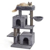 US Warehouse Cat Furniture Scratchers 45 inch Multi-Level Tree met sisal-covered krabbende berichten, vervangbare bungelende bal, hangmat en condo voor grote katten